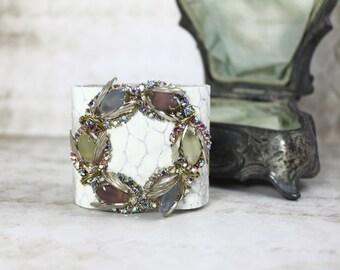 Vintage Jeweled White Leather Cuff Bracelet, Assemblage Leather Cuff, Large Brooch Leather Cuff, Boho Statement Cuff, Pastel Jeweled Cuff