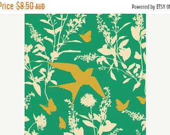 ON SALE Joel Dewberry Fabric - 1/2 Metre Bungalow -  Swallow Study in Emerald / Free Spirit Fabric
