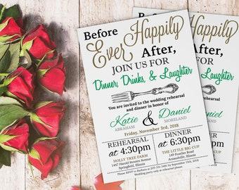 Customized Elegant Wedding Rehearsal Dinner Invitation - Printed