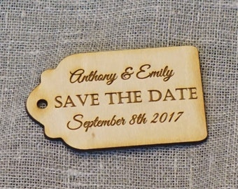 Save the Date magnet 75 Custom engraved wooden magnet tags for wedding Personalised tags custom Wood tags couple tags engraved tags