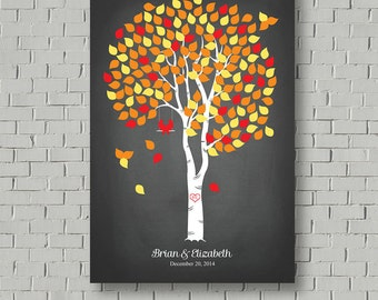 Fall Wedding Tree Wedding Guest Book Sign Guest Book Tree, Wedding Canvas Guest Book Ideas Faux Chalkboard Wedding Signs Wedding Poster