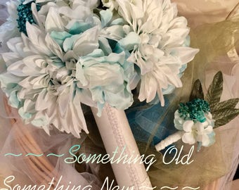Blue & Aqua bridal bouquet with pearl covered satin wrap and matching boutonniere
