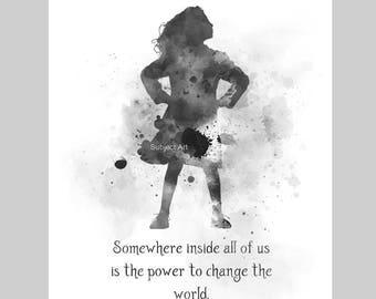 Matilda inspired Quote ART PRINT illustration, Black and White, Roald Dahl, Nursery, Wall Art, Home Decor, Gift