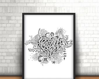 Floral Heart Zendoodle, Coloring page for adults, Digital print