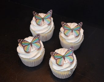 Stained Glass Monarch Edible Butterfly Cupcake and Cake Accents