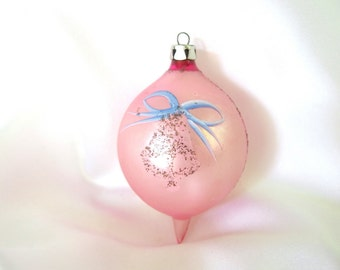 Vintage Christmas Ornament, Pink with Black Mica Bell Poland Holiday Ornament