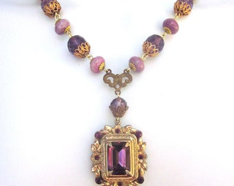 Purple Crystal Assemblage Necklace Wedding Jewelry Purple Rhinestones
