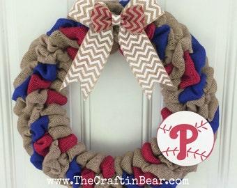 Philadelphia Phillies burlap wreath - Philadelphia Phillies wreath - Philadelphia Phillies - Philadelphia Phillies decor - Phillies decor -