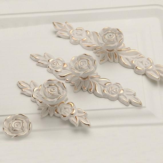 flower shabby chic dresser drawer pulls handles ivory gold. Black Bedroom Furniture Sets. Home Design Ideas