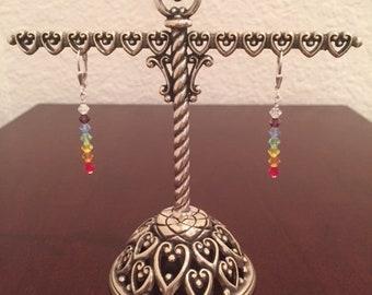 Rainbow Chakra Swarovski Crystal .925 Sterling Silver Lever-back Earrings