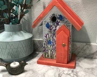 Birdhouse, Decorative Hand Painted Bird House Country Home Decor, Handmade Birdhouses, Coral & White with Purple Flowers, Item #566441925