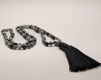 108 Bead Kiwi Jasper (also know as Sesame Jasper), Green Tourmaline and Labradorite Mala, Prayer Beads, Yoga Beads, Meditation Beands