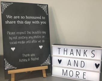 We are so honoured unplugged wedding no sharing photos sign