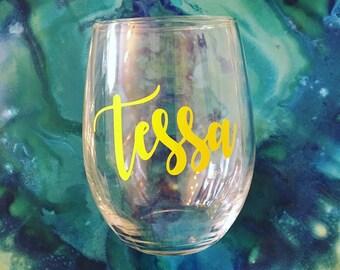 Personalized wine glasses   bridesmaid wine glasses   customized wine glass   stemless wine glasses