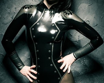 Dieselpunk mechanist bodysuit in black/pewter EU36