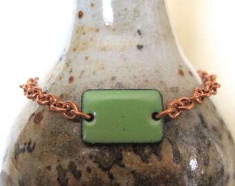 Green Bracelet, Enamel Bracelet, Enameled Copper, Copper Chain, Chain Bracelet, Pea Green Rectangle, Geometric Jewelry, Copper Bracelet