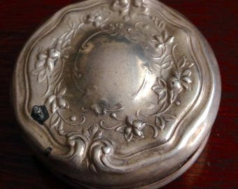 Beautiful antique repousse small glass vanity jar sterling lid