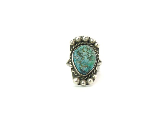 Navajo Style Vintage Turquoise Nugget Sterling Silver Ring