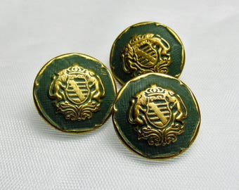 "Moss Green Crests: 3/4"" (19mm) Vintage Costumakers Metal Buttons - Set of 3 Unused Matching Buttons"