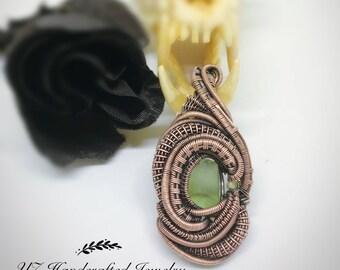 """Heady wire wrapped pendant """"Little Fluorite"""""""