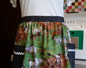 For the Love of Goats! waist apron with gray accents