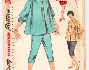 Vintage 1954 Simplicity 1027 Sewing Pattern Maternity Shirt-Blouse, Toreador Pants and Shorts Size 11 Bust 29