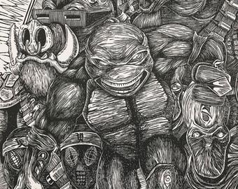 "Raphael - TMNT - 11"" x 17"" - Limited Edition Lino Block Print"