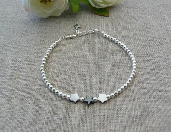 Bracelet argent massif 925, perles argent massif, breloques étoile