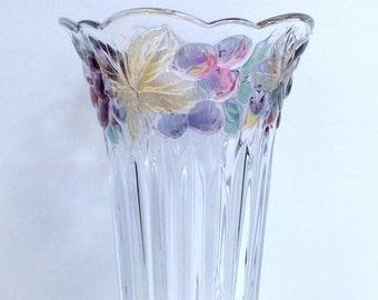 Vintage Glass Vase, Contemporary Design Colored Glass Vase, Vase Gift, Raised Colored Grapes & Leaves Design on Smooth Fluted Edge Top