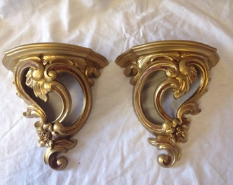 Pair of Vintage Gold Resin Wall Plaques by Dart IND