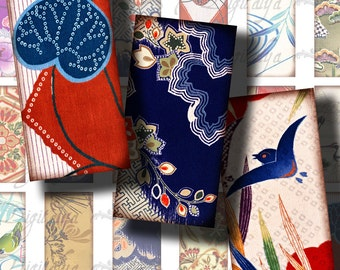TRADITIONAL KIMONO PATTERNS (1) Digital Collage Sheet - Dominos 1x2 inch or Bamboo size - Buy 3 Get 1 Extra Free
