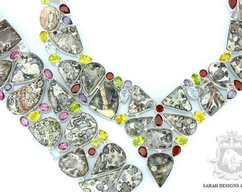 LEOPARDSKIN JASPER MULTISTONE 925 Solid Sterling Silver Necklace Set 157