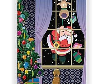Funny Cat and Santa - 18 Cards & Envelopes - KX260