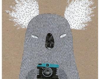 Koala with camera A4 print