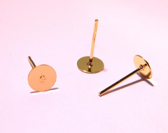 20 gold plated 11 mm x 6 mm PG165 disc studs