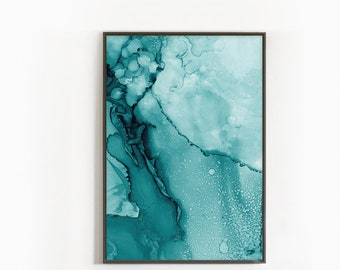 Living Room Art, Abstract Painting Printable, Teal Wall Art Prints, Modern  Minimalist Art, Green Room Decor, Aqua Art Prints, Ink Art Prints