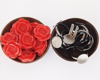10 DIY Ring Kit Red Flower Rings Rose Acrylic Flower Adjustable Metal Ring