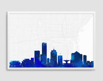 Milwaukee Wisconsin Cityscape and Street Map Blue Watercolor Art Print Office or Home Wall Decor