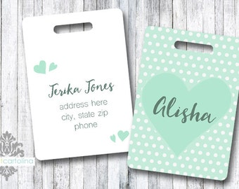Luggage Tag | Personalized Bag/Luggage Tag | Kids Backpack Tag | Diaper Bag Tag | Custom Bag Tag | Travel Accessory | Mint Heart