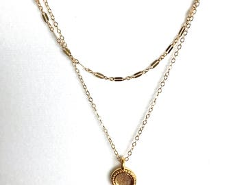 Gold fill double chain necklace with charm
