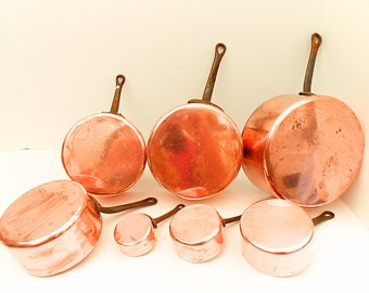Set of 7 French Vintage 1 mm Copper Graduated Sauce Pans (C232)