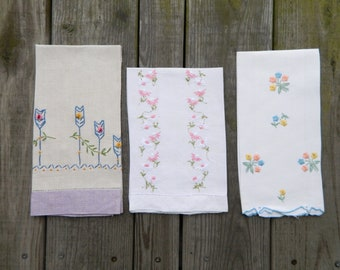 3 Vintage Embroidered Flower Linen Tea Towels