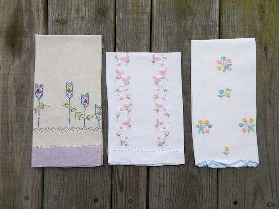 3 Vintage Embroidered Flower Linen Tea Towels