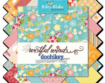 Wistful Winds by Doohikey for Riley Blake Designs,  5 Inch Charm Pack Stacker, 18 pieces, Bin A, Fast Shipping