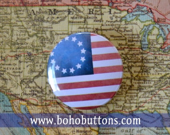 Colonial United States Pinback Button, Magnet, Badge, US Flag Button, USA gift, Historic US Flag Pin, Souvenir Gift, Classic Flag Keychain