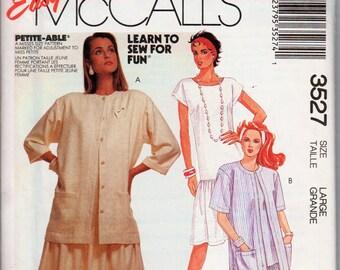 """Drop Waist Dress Shirt Jacket Pattern 1980s Dress and Jacket McCALLS 3527 UNCUT bust 40-42"""" Pullover Dress Short Sleeve Jacket 80s Dress"""