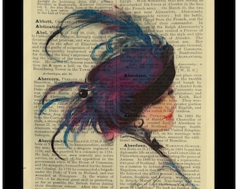 Vintage Blue Lady Hat Fashion - Dictionary Print Book Page Art