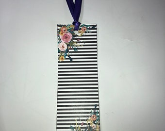 Striped Floral Bookmark