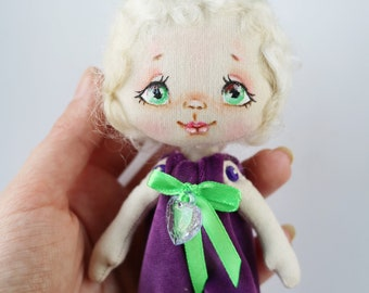 Doll Bunny Miniature doll Textile doll Cloth doll Handmade doll Fabric doll Ragdoll Gift girl  Doll for girl Birthday gift Doll for children