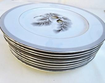 Vintage Kent China Plates | Dinner Plates | Silver Pine | Pinecone China | 10 Inch Plates | Dinnerware Plates | Set of 8